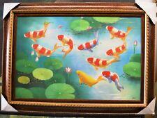 "KOI FISH LOTUS LILY FLOWER POND 36"" FRAMED PAINTED OIL PAINTING DECOR ART FM60"