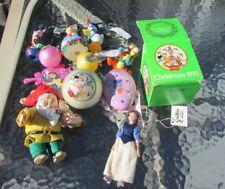 Disney Christmas Ornament Lot Snow White Alice In Wonderland Donald Duck Vintage