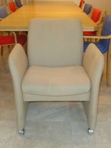 RARE Harvey Probber Fabric Designer Club Chair w/ Casters Mid Century Modern