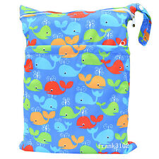 1 Whale Wet Dry Bag Baby Cloth Diaper Nappy Bag Reusable With Two Zipper Pockets
