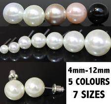All Sizes 4mm - 12mm Pearl Stud Earrings  Simulated Faux - 5 Colours UK Seller