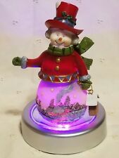 Christmas Holiday Snowman w/ Stars & Changing Light (red, green, blue) Base