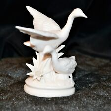 Vintage Alabaster Stone Geese Pair Figurine Wildlife Home Decor Sculpture Art