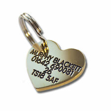 Pet Dog Cat ID Collar Tags - Deeply engraved FREE, 22mm Brass Heart. Top Quality