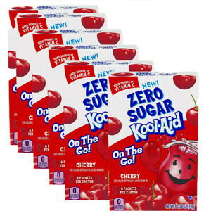 6 Boxes Kool-Aid Cherry Zero Sugar Drink Mix Singles To Go (36 Packets)