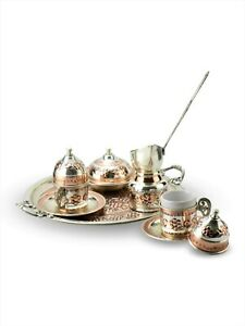 Coffee Set 2 Person Embroidered Copper Coffee tOttoman Turkish Saucer Cup Mug