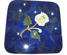 "24"" Blue Marble Coffee Center Table Lapis Stone Lazuli Inlay Outdoor Decor H1931"