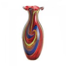 Vibrant Swirl of Colors Art Glass Vase