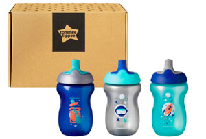 Tommee Tippee Active Sports Baby Bottle beaker 12 Months Plus, Blue, 3-Piece