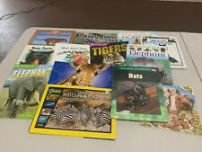 Lot 12 Kids Picture Books All Mammals Tigers/Elephants/Wolves+
