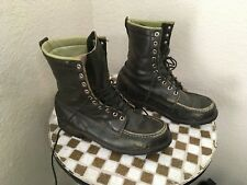 BROWNING VINTAGE USA GREEN LEATHER MOC TOE LACE UP BOOTS 8.5 M