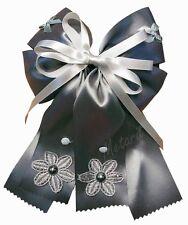 "#D1 Long Big Hair Clip 6.5"" GRAY Snood Bow Hairclip Wedding Haarspange Barrette"