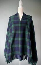Black Watch Tartan Poncho blau/grün kariert Fleece Cape Kelten Button