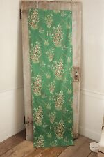 Vintage French fabric material green 1950's cotton panel for design and pillows