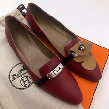 NEW Hermes Ladies Leather Pegase KELLY Red Black Flat Shoe Pump Loafer Size 38 5