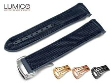 For 20mm 22mm OMEGA SeaMaster Planet NAVY BLUE Rubber Strap Watch Band Clasp