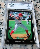MIKE TROUT 2011 Bowman Rookie Card RC Logo BGS BCCG 9 Angels $ HOT ROY AS MVP $