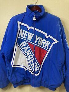 VTG 90S NEW YORK RANGERS LARGE LOGO SEWN NHL STARTER JACKET ADULT XL