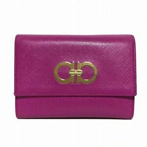 Auth SalvatoreFerragamo Gancini Purple Leather Bifold Wallet
