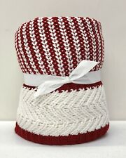 """NEW Pottery Barn Dumont Stripe 50"""" x 60"""" Knit Throw Blanket~Cardinal Red"""
