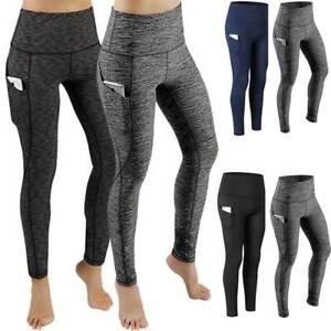 Womens High Waist Yoga Pants Gym Leggings Pockets Fitness Athletic Trousers