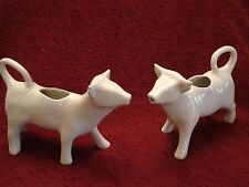 "2- Cow Creamers Classic White Ceramic Porcelain Pitchers Made in France 7.5""x4.5"