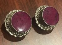 VINTAGE TAXCO MEXICO 925 STERLING SILVER HEAVY PURPLE TURQUOISE BRAIDED EARRINGS