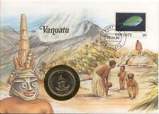 superbe enveloppe VANUATU NEW HEBRIDES pièce monnaie 20 VATU 1983 UNC NEW timbre