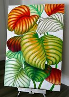 original art landscape painting, Tropical Leaves, ready to hang