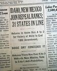 END OF PROHIBITION 18th Amendment Repeal BEER RETURNS in NM & ID 1933 Newspaper