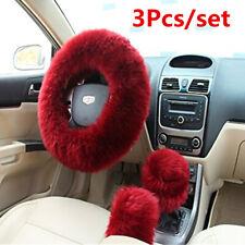 3Pcs/set Soft Plush Fur Wool Steering Wheel Cover Furry Fluffy Car Accessories