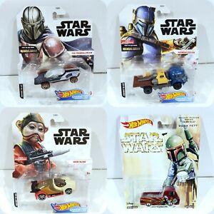 Star Wars Hot Wheels Character Cars The Mandalorian, Boba Fett, Darth Vader