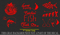 Fishing Sticker Pack Lot of 8 Red Vinyl Decal Stickers Fish Reel Lake Life