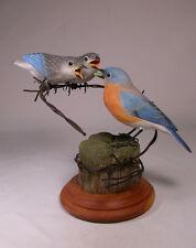 Eastern Bluebird (F) & Babies Bird Carving Wood/Birdhug