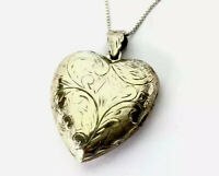 Vintage Large Engraved Sterling Silver Heart Locket Pendant Chain Necklace BOXED