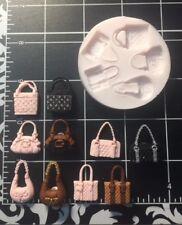 Mini purse, mini bag / hand bag / fashion silicone mold Fondant, Candy, Jewelry.
