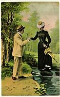 Vintage Postcard - Un-Posted Divided Back Man Helping Women Across Pond #6388