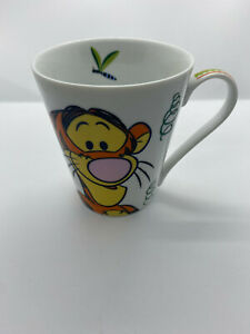 Disney Tigger Mug - White with Bouncy Coils Dragonflies Sun and Flowers