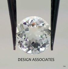 WHITE TOPAZ 5 MM ROUND CUT CHECKERBOARD TOP AAA