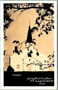 FORT LEAVENWORTH Kansas RPPC Photo Postcard Chapel - Reception Center 1940s WWII