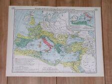 1938 ORIGINAL VINTAGE MAP OF ROMAN EMPIRE / FRANCE GALLIA ANCIENT ROME