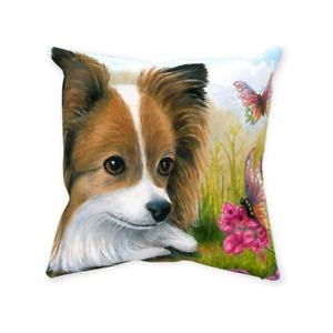 Throw Pillow Case Cushion cover Dog 123 Papillon art L.Dumas
