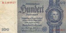 Germany  100  Mark   24.6.1935   Swastika  Series  A   Circulated Banknote GR