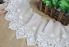 "2 yards Lace Trim Ivory Tulle Heart Cotton Floral Embroidery Lace 5.51"" width"