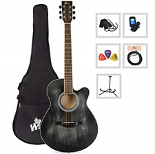 Winzz 40 Inches Cutaway Acoustic Guitar Beginner Starter Bundle with Padded Bag,