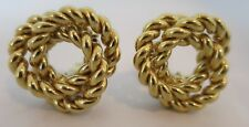Vintage Givenchy Large Twisted Knotted Rope Clip On Earrings Signed