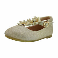 Kid Toddler Girls Glitter Suede Mary Jane Shoes Floral Decor Ballet Flats Shoe