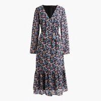 NWT J. Crew Ruffle-hem Dress In Paisley Floral Size 2