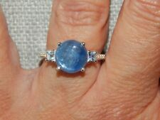 MOON KYANITE & BLUE TOPAZ RING-SIZE S-4.00CTS-STERLING SILVER 925