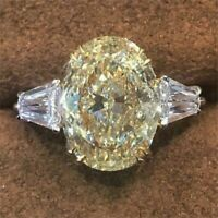 6 Carat Fancy Canary Yellow Oval Diamond 14K White Gold Engagement Wedding Ring
